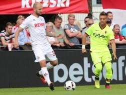 Anthony Mounier, 28 anni, durante l'amichevole persa dal Bologna contro il Colonia. Bolognafc