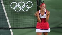 La gioia di Monica Puig, vincitrice del primo oro femminile. Afp