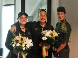Lucilla Boari, 19 anni, e Guendalina Sartoni, 28, festeggiate a Fiumicino. Ansa