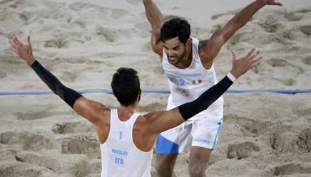 Paolo Nicolai e Daniele Lupo, coppia azzurra del beach volley. Reuters