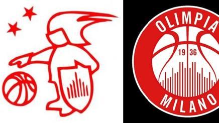 Il vecchio e il nuovo logo dell'Olimpia Milano