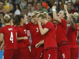 La festa della Germania dopo la vittoria sulla Svezia in finale. Afp
