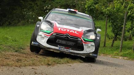 La Citro�n DS3 WRC di Stephane Lefebvre e Gabin Moreau durante il Rally di Germania GETTY IMAGES