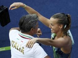 Giorgio e Tania Cagnotto dopo il bronzo olimpico. Reuters