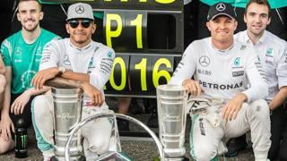 Lewis Hamilton e Nico Rosberg, contendenti per il titolo 2016. Epa