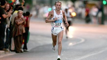 Stefano Baldini, oggi 45 anni, oro nella Maratona ad Atene 2004. Epa
