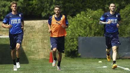 Rugani, Berardi e Romagnoli in un vecchio allenamento dell'Under 21: � rimasto a disposizione di Di Biagio solamente l'attaccante del Sassuolo. Getty Images