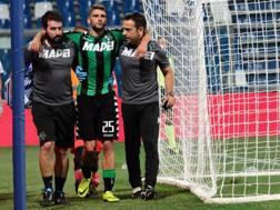 L'infortunio di Domenico Berardi, 22 anni, contro il Pescara. Ansa