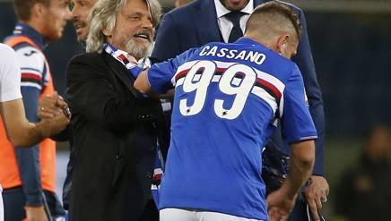 Il presidente della Sampdoria Massimo Ferrero con Antonio Cassano. LaPresse