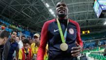 Kevin Durant, 27 anni, posa col 2� oro olimpico della sua carriera. Getty