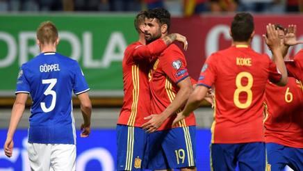Che Spagna: 8-0 al Liechtenstein. Un diluvio ferma l'Albania di De Biasi