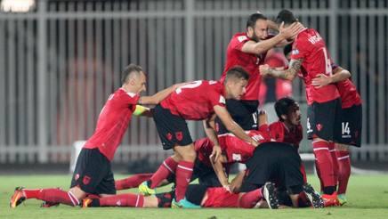 L'esultanza dell'Albania. Afp