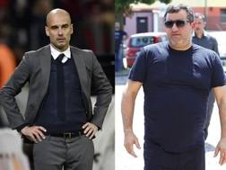 Il tecnico del Manchester City Pep Guardiola e il procuratore Mino Raiola. Gasport