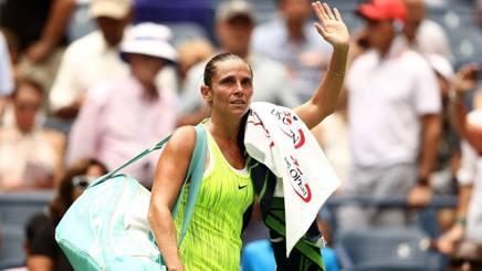 Roberta Vinci, dopo la sconfitta ai quarti degli Us Open. Afp