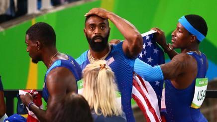 Tyson Gay con la staffetta 4x100 ai Rio 2016, subito dopo la squalifica REUTERS
