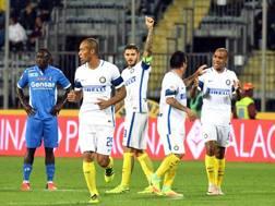 Mauro Icardi festeggia  il secondo gol contro l'Empoli. Ansa
