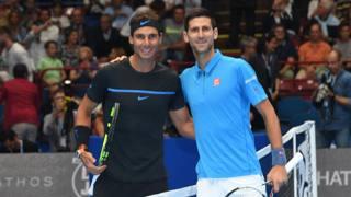 Rafael Nadal con Novak Djokovic prima della partita