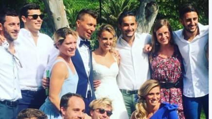 Tania Cagnotto con il marito Stefano Parolin e i colleghi tuffatori