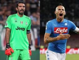 Il capitano della Juve  Gianluigi Buffon, 38 anni, e quello del Napoli Marek Hamsik, 29. Gasport