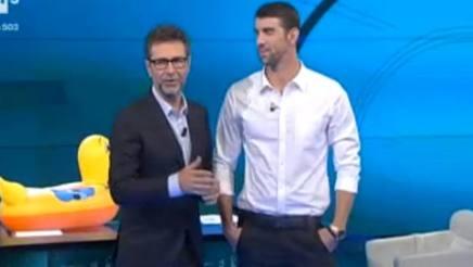 Fabio Fazio con Michael Phelps