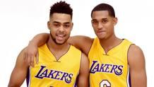 D'Angelo Russell e Jordan Clarkson al Media Day dei Lakers. Afp