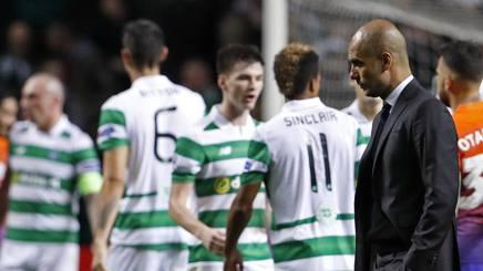 Pep Guardiola e la festa del Celtic. Reuters