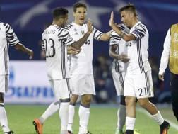 L'esultanza dei giocatori della Juventus a Zagabria. Ap