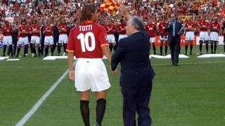 Francesco Totti con Franco Sensi. LaPresse