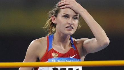 Anna Chicherova nella gara olimpica di Pechino 2008. Epa