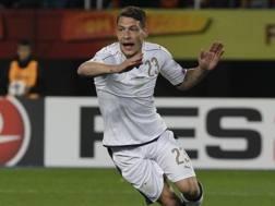 Andrea Belotti festeggia il gol contro la Macedonia. Ap