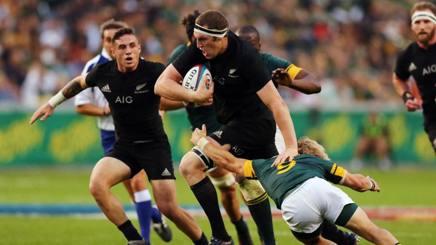 Brodie Retallick degli All Blacks contro il Sud Africa sabato scorso a Durban.Afp