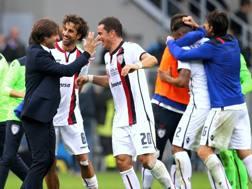 Massimo Restelli festeggia a San Siro la vittoria contro l'Inter FORTE FABRIZIO
