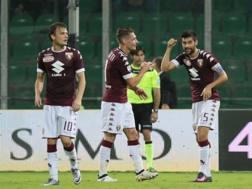 Ljajic, Belotti e Benassi festeggiano col Palermo. LaPresse