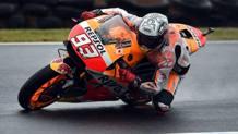 Marc Marquez in azione sulla Honda. Afp