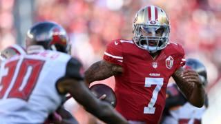 Colin Kaeprenick, San Francisco 49ers, ieri contro Tampa Bay. Afp