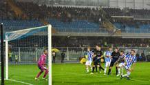 Per Mattia Caldara � la prima rete in Serie A. Ansa