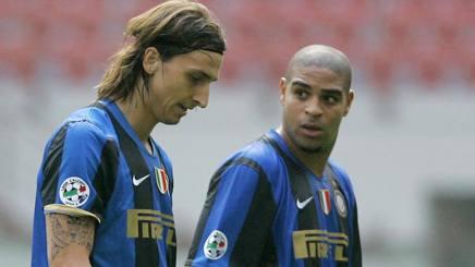 Zlatan Ibrahimovic e Adriano ai tempi dell'Inter. Ap