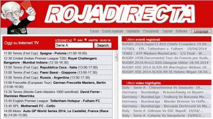 La homepage di Rojadirecta.