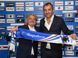 Massimo Ferrero e Marco Giampaolo nel giorno della presentazione Ansa