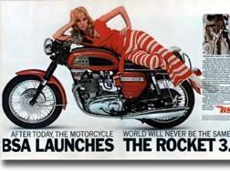 La pubblicità di lancio della Bsa Rocket 3 del 1969