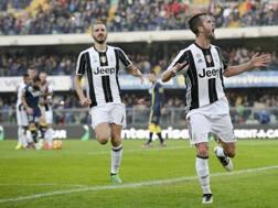 L'esultanza di Pjanic, autore del gol-vittoria. LaPresse