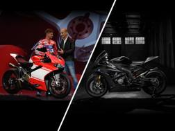 A sinistra la Ducati 1299 Superleggera, a destra la Bmw HP4 Race. GdS