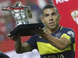 Carlos Tevez, 32 anni, attaccante argentino del Boca Juniors. Epa