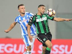 Un momento della sfida tra Pescara e Sassuolo. LaPresse