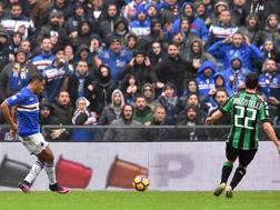 Luis Muriel, 25 anni, attaccante della Sampdoria, trafigge Consigli e realizza il gol del 2-2. Ansa