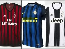 Maglie (e sponsor) delle tre big italiane: Milan, Inter e Juve