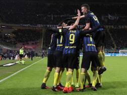 L'esultanza dei giocatori dell'Inter. Getty
