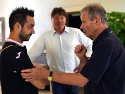 Roberto De Zerbi, 37 anni, allenatore del Palermo, e Maurizio Zamparini, 75, presidente del club. Getty Images