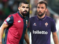 Da sinistra, Tomás Eduardo Rincón Hernández, 28 anni, del Genoa, e Milan Badelj, 27, della Fiorentina. Forte