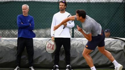 McEnroe, Moya e Raonic in allenamento. Il trio non c'è più. Getty